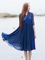 Ample Robe Femme Décontracté / Quotidien simple / Chinoiserie,Couleur Pleine Col en V Mi-long ½ Manches Bleu Soie Eté Taille NormaleNon