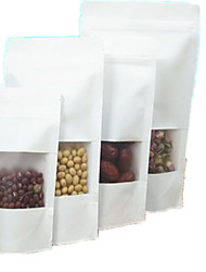 White Kraft Paper Bags Plastic Food Bags Ziplock Ziplock Window Print A Ten Pack 14*20