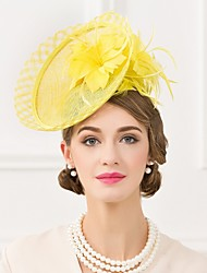 Women's Feather / Flax Headpiece-Wedding / Special Occasion / Casual Fascinators / Hats 1 Piece Yellow Oval None