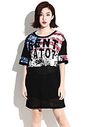 HANBELLE® Damen Rundhalsausschnitt Kurze Ärmel T-Shirt Schwarz-939#