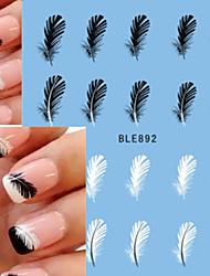 1pcs Beautiful Black White Feather Nail Art Decal Stickers  Nail Art BLE892