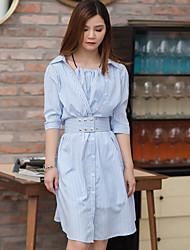 Feminino Camisa Vestido,Casual Simples Listrado Colarinho de Camisa Altura dos Joelhos Manga ¾ Azul Algodão / Poliéster Primavera / Verão