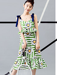 ROOM404  Women's Going out Cute Sheath DressFloral Strap Knee-length Sleeveless Green Polyester