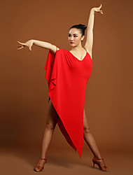 Latin Dance Dresses Women's Training Viscose Ruffles 1 Piece Black / Red Latin Dance Natural Dress