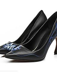 Homme-Extérieure-Noir / Rose / Blanc-Talon Aiguille-Talons-Chaussures à Talons-Cuir
