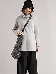 rizhuo mujeres que salen de la manga larga media / ocasional / habitual diaria simple pulloversolid blanco / gris de cuello alto invierno