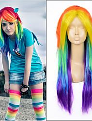длинные прямые ломбера цвета радуги термостойкие синтетические парики партии способа переплетения королева красоты волосы аниме косплей