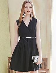 I'HAPPY Women's Formal Simple A Line DressSolid V Neck Above Knee Sleeveless Black Polyester Summer