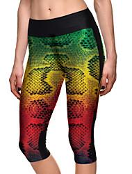 Women's Animal Print Green Skinny Pants,Plus Size / Active