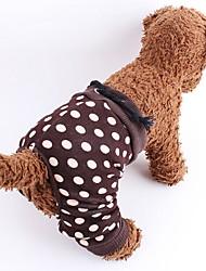 Dog Pants Dog Clothes Summer Spring/Fall Polka Dots Fashion Brown White/Black
