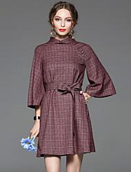 CELINEIA Women's Work Vintage  DressSolid Stand Above Knee  Sleeve Purple Cotton / Spandex Spring