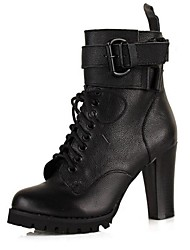 Women's Boots Fall / Winter Motorcycle Boots / Closed Toe Leather Outdoor Chunky Heel Lace-up Black Others