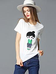 случайные / сут простой летом T-shirtembroidered шею с коротким рукавом frmz женский белый