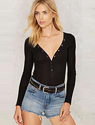 Damen Solide Einfach / Street Schick Ausgehen / Lässig/Alltäglich T-shirt,V-Ausschnitt Alle Saisons Langarm Schwarz Kunstseide Dünn