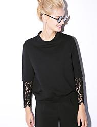 nouvelle avant occasionnel / journalier simple manches longues stand blousesolid femmes rouge / noir