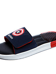 Men's Sandals Summer Flats Synthetic Casual Flat Heel Green / Red / Black and Red / Black and White / Royal Blue