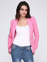 Women's Solid Pink/Black Blazer,Work Notch Lapel Long Sleeve