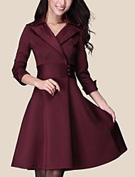 Robe Femme Travail Grandes TaillesCouleur Pleine Revers en Pointe Au dessus du genou Manches Longues Rose Noir Vert Violet Polyester
