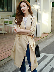 Women's Going out / Daily / Work Vintage / Sophisticated Trench CoatSolid Shirt Collar Long Sleeve