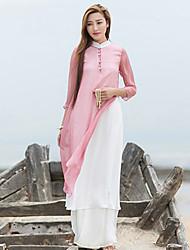 Ample Robe Femme Décontracté / Quotidien Chinoiserie,Couleur Pleine Mao Mi-long Manches ¾ Rose Lin Automne Taille Normale Non Elastique