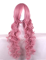 80CM Smoke Pink Curly Hair Wigs Tour Sound Ruka Brigitte Students Cosplay Role Playing