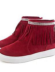 Feminino-Botas-Botas da Moda-Rasteiro-Preto / Vermelho-Algodão-Ar-Livre / Casual