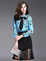 Women's Going out Street chic Fall Set Skirt,Print Crew Neck Long Sleeve Blue Polyester Thin