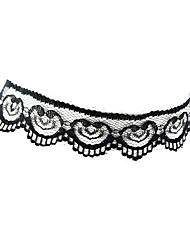 Black White Lace Flower Wide Choker Necklaces