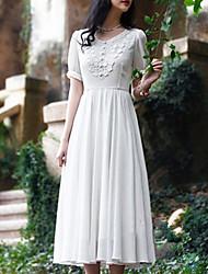 Women's Sexy/Maxi Micro-elastic Short Sleeve Midi Dress (Chiffon)