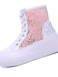 Women's Heels Winter Round Toe PU Casual Wedge Heel Lace-up White Others