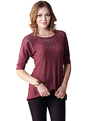 Damen Solide Einfach Lässig/Alltäglich T-shirt,Rundhalsausschnitt Sommer ½ Länge Ärmel Rot Kunstseide / Polyester Dünn