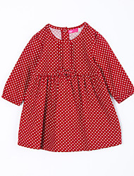 Girl's Casual/Daily Polka Dot DressCotton Fall Blue / Red