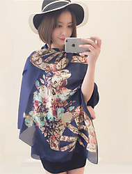 Fall Winter Vintage Wheel Flower Print Blue Satin Silk Scarf  Long Oversized Travel  Shawl Scarves
