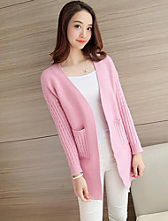 Women's Casual/Daily Simple / Street chic Slim Gentlewoman Regular Cardigan Solid Cowl Long Sleeve