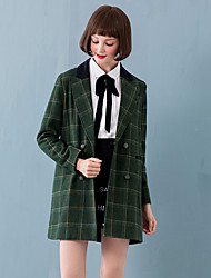 Linjou Women's Going out Cute CoatPlaid Notch Lapel Long Sleeve Winter Green Wool Medium