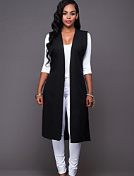 Women's Holiday Simple / Street chic Waistcoat Split Spring / Fall JacketsSolid Cowl Sleeveless