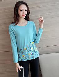 Tee-shirt Femme,Motif Animal Décontracté / Quotidien simple Automne Manches Longues Col Arrondi Multi-couleur Coton Moyen