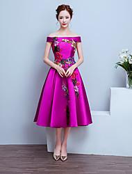Tea-length Satin Elegant Bridesmaid Dress - A-line Off-the-shoulder with Appliques