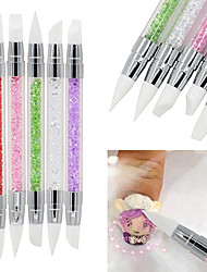 5PCS/Set Double-end Nail Art Sculpture Pen Silicone Head Carving Craft Pen