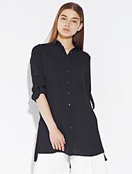c + impressionar as mulheres está saindo da mola simples / descida média de poliéster preto manga comprimento shirtsolid colarinho da camisa