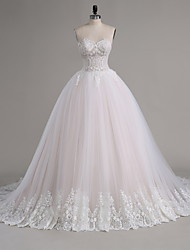 A-line Wedding Dress Chapel Train Strapless Tulle with Appliques / Ruffle