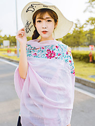 Women Spring Casual National Wind Pink Embroidery Flower Printed Travel Shawl Scarves Scarf