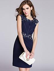 Gaine Robe Femme Grandes Tailles Sophistiqué,Broderie Col Arrondi Au dessus du genou Sans Manches Bleu Polyester Eté Taille Normale