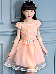 A-line Knee-length Flower Girl Dress - Cotton / Tulle Short Sleeve Jewel with Embroidery / Ruffles