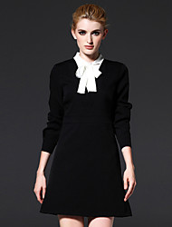 FRMZ  Work Sophisticated Sheath DressSolid Stand Above Knee Long Sleeve Black Polyester / Spandex Spring