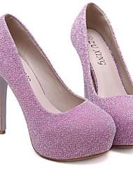 Черный / Розовый / Серебристый-Женский-Для прогулок-Микроволокно-На шпильке-На каблуках / На платформе-Обувь на каблуках