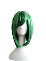 Cosplay Wig The New Color Wig BOBO Head Green Highlights 10 Inch Short Straight Hair Wigs