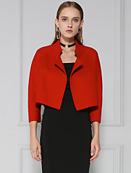 C+IMPRESS Women's Going out Simple Spring / Fall BlazerSolid Peaked Lapel Long Sleeve Red / Black Wool Medium