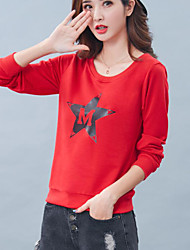 Normal Hoodies Femme Décontracté / Quotidien simple,Lettre Rouge / Gris / Jaune Col Arrondi Manches Longues Coton Automne Moyen