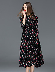 FRMZ  Casual/Daily Street chic Sheath DressPrint Stand Midi Sleeve Black Polyester Summer High Rise